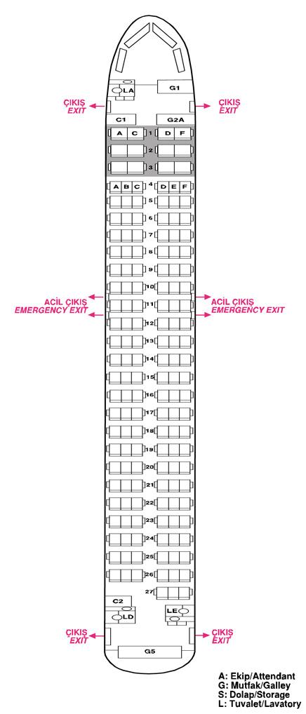 a320-200 oturma planı