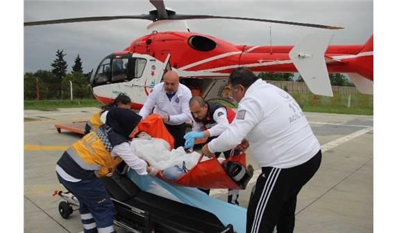 Ambulans Helikopter ile Hastaneye Kaldırıldı!